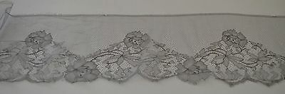 Rare Exquisite Light Grey Silk Chantilly Lace Pp675
