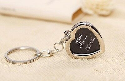 Metal heart Lovers Couples keychain Keyring Photo frame Keyrings Keyfob Gift