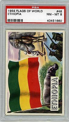 1956 Topps Flags of the World #48 Ethiopia-PSA 8 Near Mint to Mint