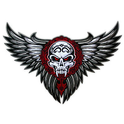 Large Winged Skull Wings Tribal Tattoo Biker Jacket Rider Vest Embroidered Patch