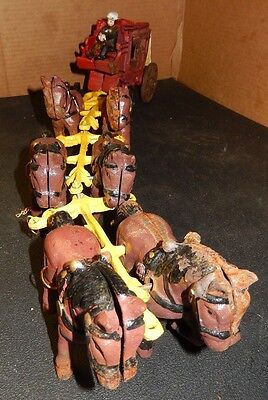 Vintage Cast Iron Chariot With Rider & Horses