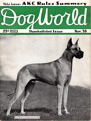 Vintage Dog World Magazine November 1938 Great Dane Cover