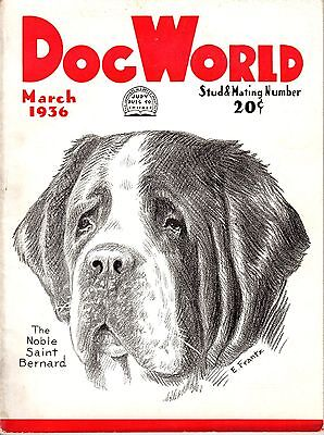 Vintage Dog World Magazine March 1936 Staint Bernard Cover