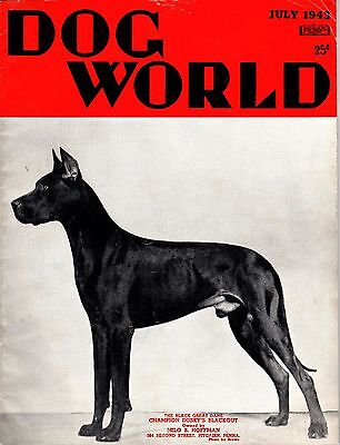 Vintage Dog World Magazine July 1943 Great Dane Cover