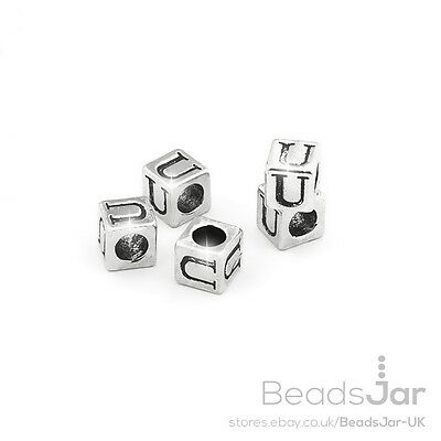 C65//22 Alphabet Letter Beads /'V/' Silver Metal Cube Charm 7mm Pack of 5