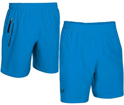 "under armour men's 7"" running shorts XL electric blue/black fitted"