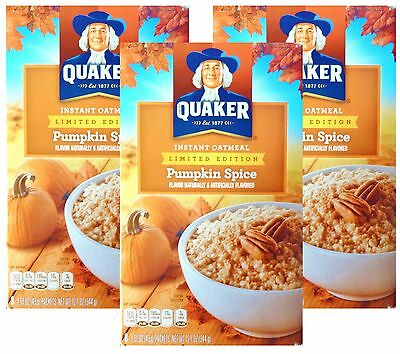 24 Quaker Instant Oatmeal PUMPKIN SPICE Individual Packets Limit. Holiday NO BOX