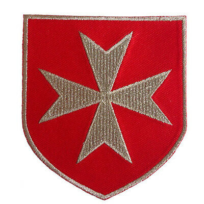 Vegasbee® Maltese Cross Christian Army Crusader Knights Silver Embroidered Patch