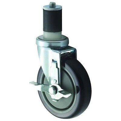 Winco CT-1B, 5-Inch Wheel Casters for 1.63-Inch or 1.5-Inch Tubing, with Brake,