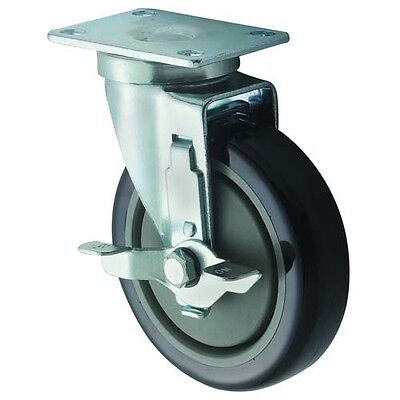 Winco CT-23B, Universal Casters, 2.38x3.63-Inch Plate, 5-Inch Wheel, with Brake,