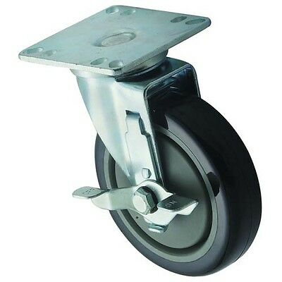 Winco CT-33B, Universal Casters, 3.5x3.5-Inch Plate, 5-Inch Wheel, with Brake, 2