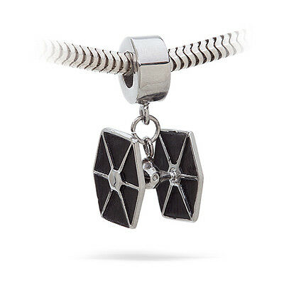 NEW Licensed Star Wars Stainless Steel Tie Fighter Dangle Charm for Bracelet