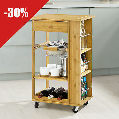 SoBuy® Bamboo Kitchen Trolley with Side Shelves Removable Basket, FKW12-B-N,UK