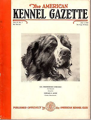 Vintage American Kennel Gazette July 1940 Saint Bernard Cover