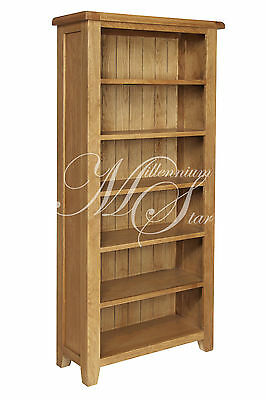 Solid Chunky Wood Rustic Oak Large Open Bookcase Display Unit