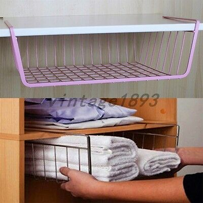 Home Hanging Storage Basket Cabinet Refrigerator Wardrobe Organizer Wire Book