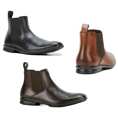 Mens Hush Puppies Chelsea Extra Wide Men's Black Mahogancy Leather Slip On Boots