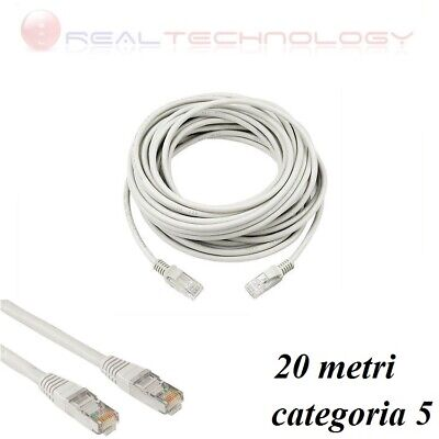 Cavo Di Rete Lan Ethernet Rj45 20 Metri Categoria 5 Prolunga 20Mt Utp