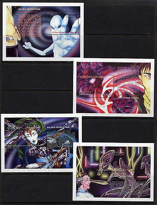 Nicaragua 1994 Alien Sightings Complete Mint Set Of 8 Stamp  Souvenir Sheets!