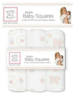SwaddleDesigns Muslin Baby SQUARES Burp Cloth Wipe Bib Swaddle Designs set 3 NEW
