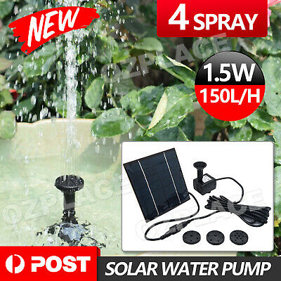 Set Solar Power Fountain Submersible Water Pump Garden Pond Pool Kit Panel