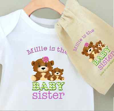 Personalised Baby Bodysuit - Baby Sister Design & Cotton Gift Bag