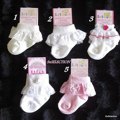 Baby Girl Socks 0/18 Months-Beautiful Designs-Lace-Flowers-Frill-Very Cute- New