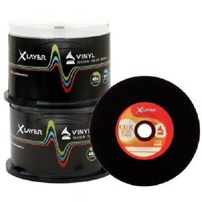 100 Xlayer Black Bottom Vinyl CD-R Blank CD discs 48x 700MB Retro look Spindle