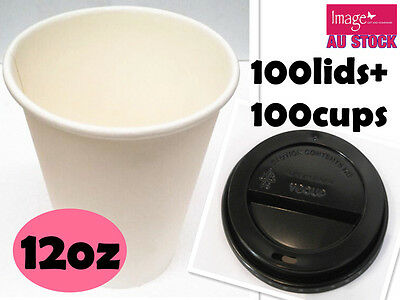 100pc White Paper Coffee Cup with Lid 12Oz Office Pantry Restaurant Cafe Event