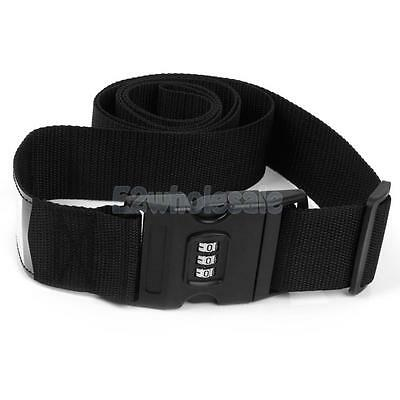 Adjustable Luggage Suitcase Strap Belt Tie Travel Combination Secure Black