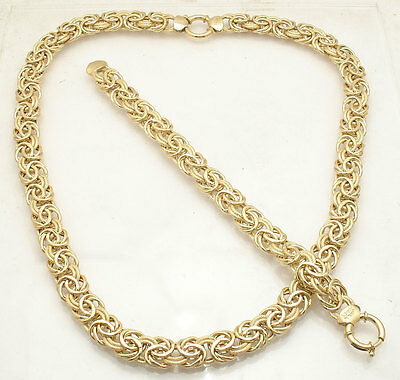 """18"""" Bold Textured Byzantine Chain Necklace Real 14K Yellow Gold QVC"""