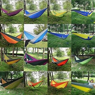 Double Person Hammock Travel Camping Outdoor Nylon Fabric Parachute Sleep Swing