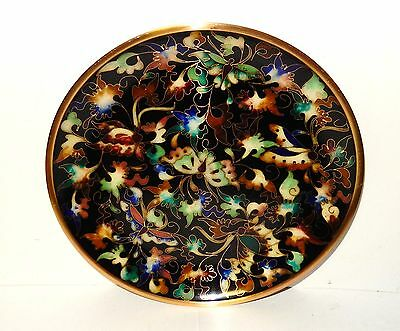 Rare Robert Kuo Japanese Cloisonne Enamel Butterfly Floral Plate Signed