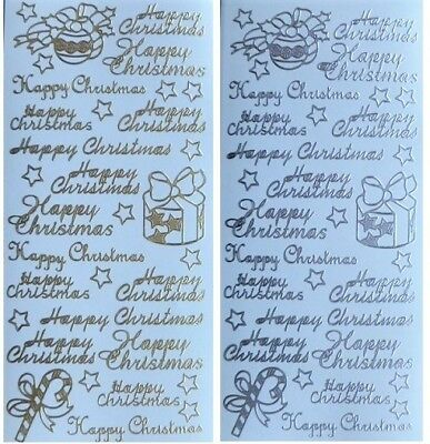 HAPPY CHRISTMAS Peel Off Stickers Stars Present Candy Cane Baubles Gold Silver