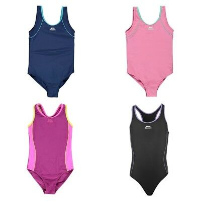 Slazenger Girls Basic Swimsuit Swimming Suit Junior Costume