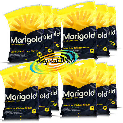 12 Pairs Marigold Extra Life Cotton Lined Stronger MEDIUM Size Kitchen Gloves