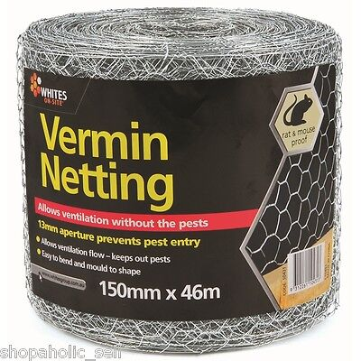 Vermin Netting 46m x 150mm x 13mm hex x 0.56mm Wire mesh for Rodent Control