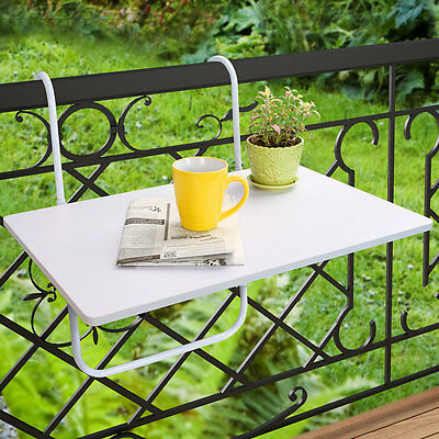 Universal Balcony Hanging Table Folding Adjustable Height Outdoor Dining White