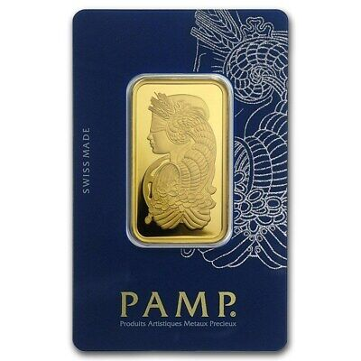 1 oz Pamp Suisse Gold Bar .9999 Fine Gold With Assay Fortuna Design