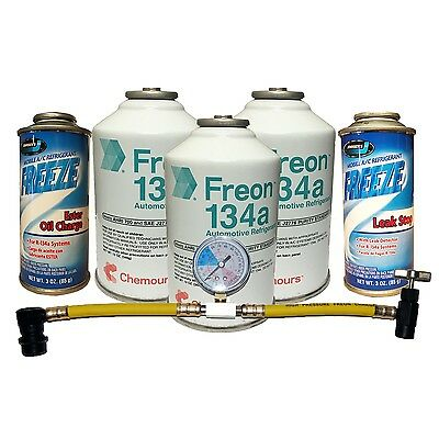R-134a Complete Car Kit Refrigerant, Oil Charge, Stop Leak & Can Tap with Gauge