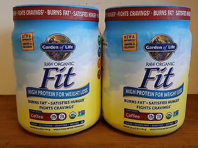 Lot of (2) Garden of Life RAW Fit Marley Coffee 15 oz Burns Fat Organic Protein