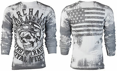 Archaic AFFLICTION Men THERMAL Shirt RACER American Customs USA FLAG Biker $58 b