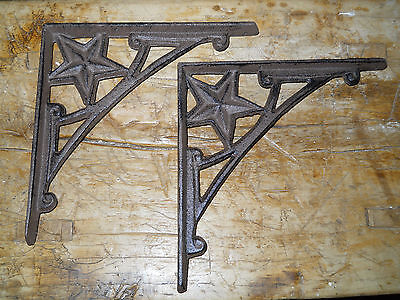2 Cast Iron Antique Style HD Star Brackets, Garden Braces Shelf Bracket RUSTIC