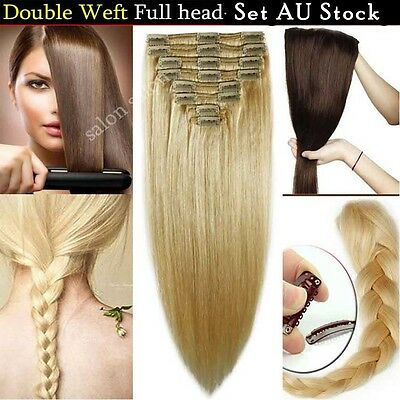 Thick Real Human hair Extensions Clip in Double Weft Set 8 Pieces Brown Black AU