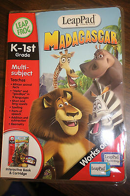 Leap Pad  Madagascar  Interactive Book and Cartridge ~Free Shipping!!!~