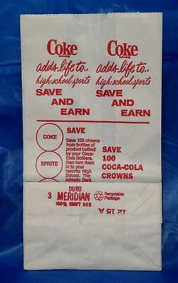 Vintage Coca Cola Coke High School Sports Fundraiser White Paper Bag Sack NOS