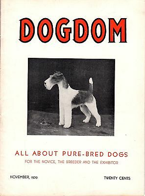 Vintage Dogdom Magazine November 1939 Fox Terrier Cover