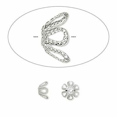 100 Silver Plated Brass Bead Caps Lacy 7mm Filigree Bendable Dotted Flower Bulk