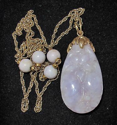 "14K Gold Necklace with 2.2"" Chinese Lavender JADEITE Jade Pendant  (28.4g, 26"")"