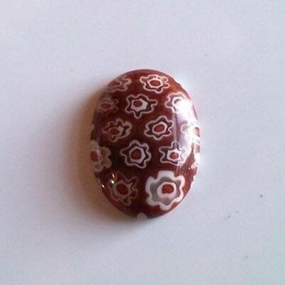 Millefiori Art Glass Cabochons 18x13mm Oval Cabs Red with White Flowers (2)